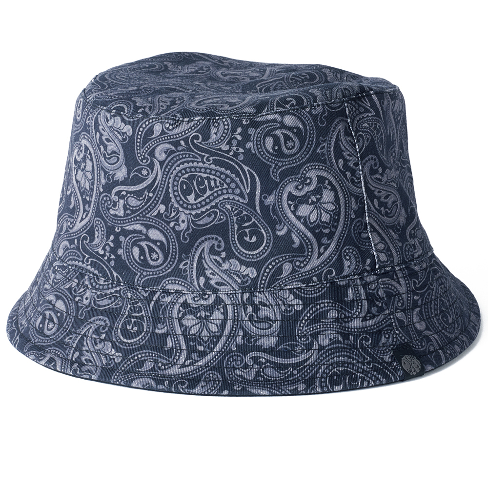 9e10d0c7828 Navy Reversible Paisley Print Bucket Hat