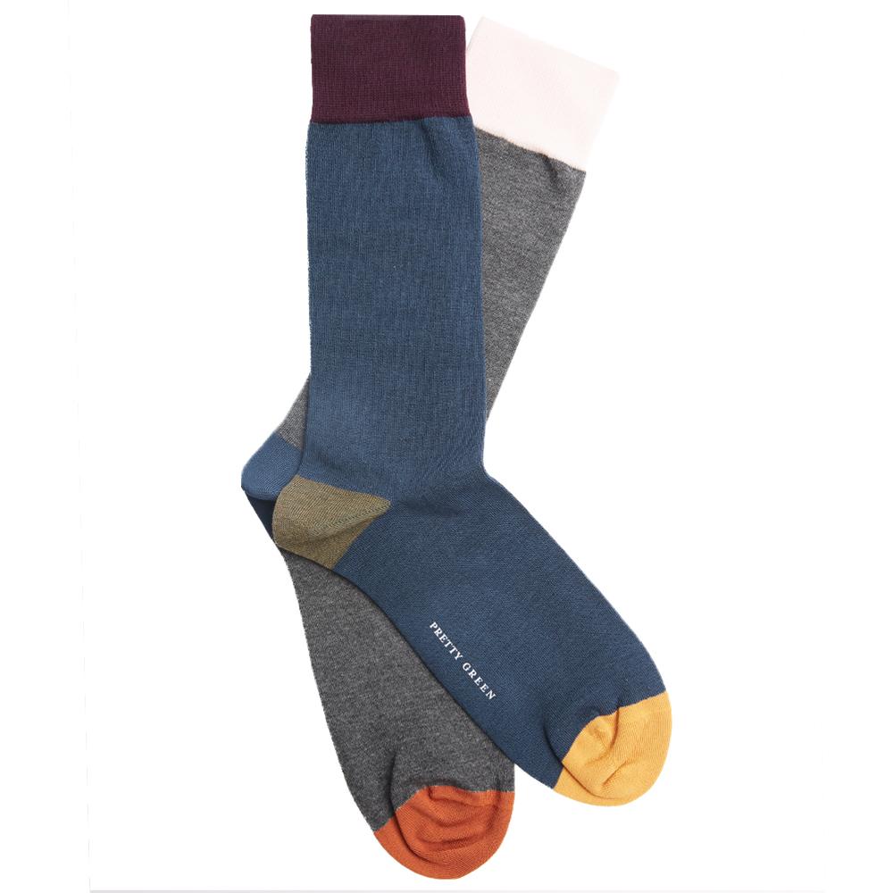 2 Pack Colour Block Sock Set (Blue, One Size, Socks)