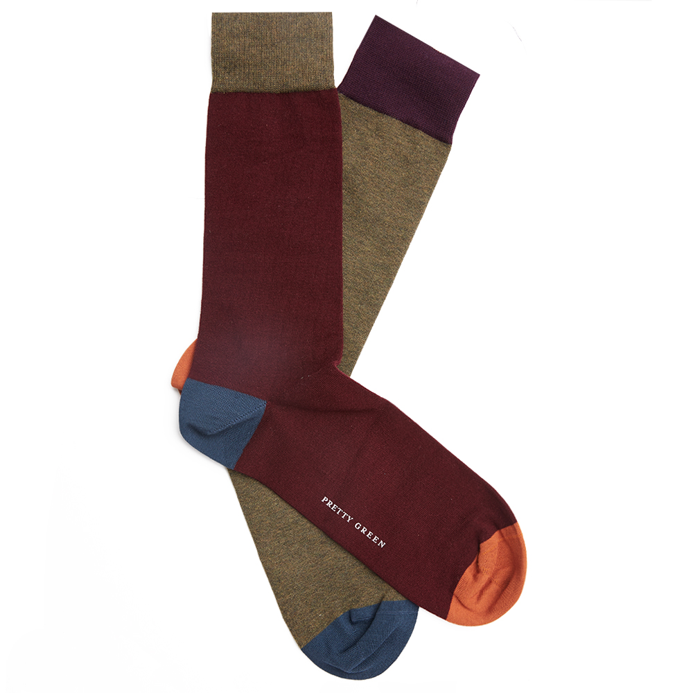 2 Pack Colour Block Sock Set (Burgundy, One Size, Socks)
