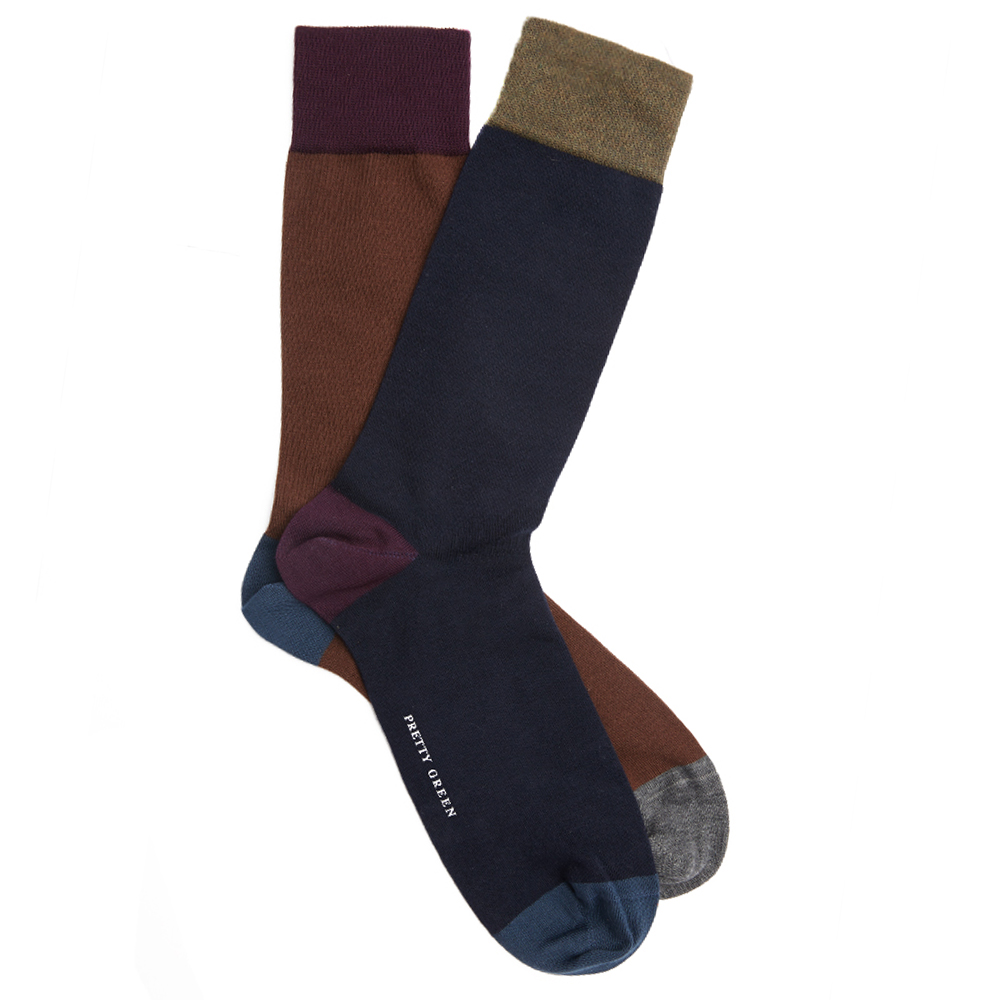 2 Pack Colour Block Sock Set (Navy, One Size, Socks)