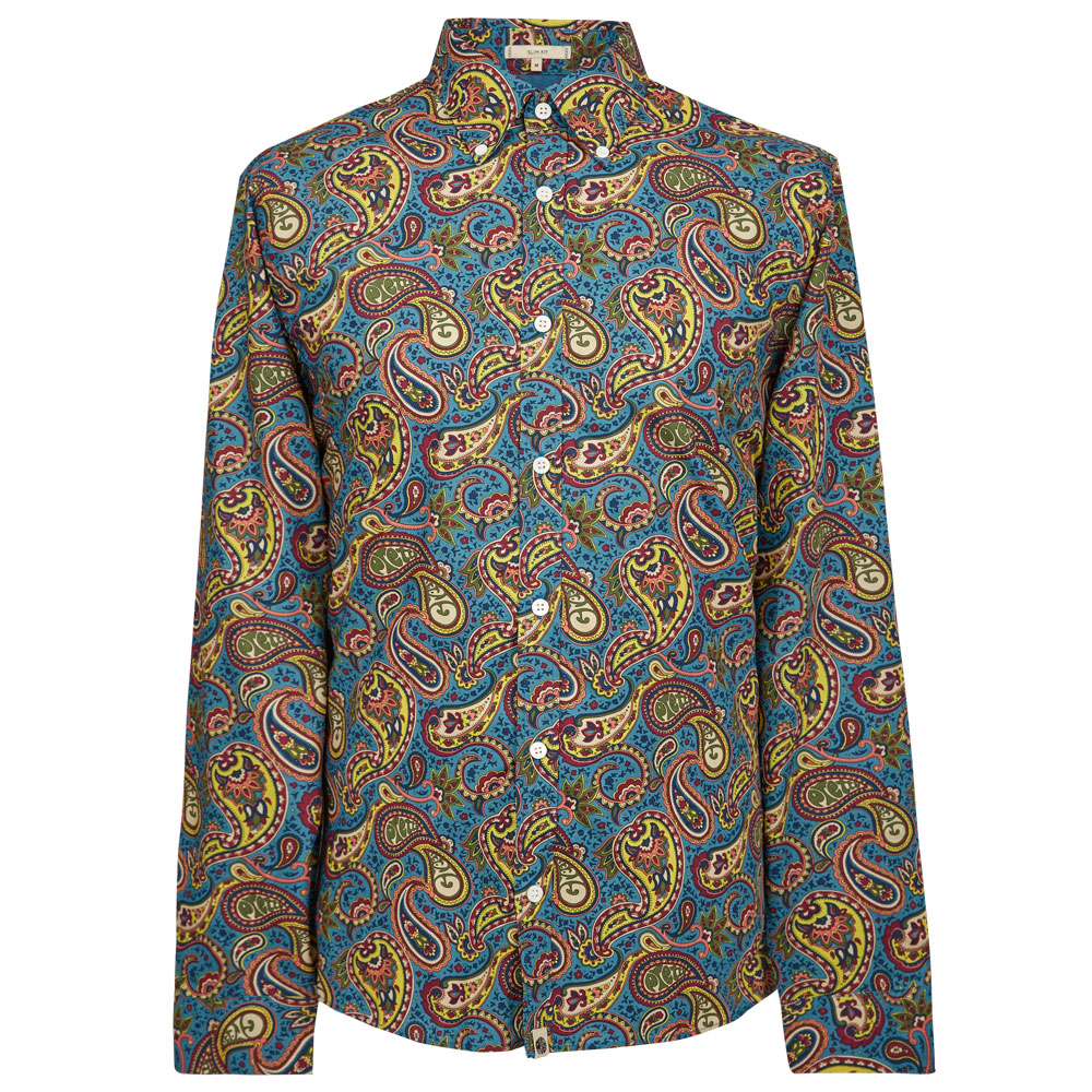 10th Anniversary Slim Fit Paisley Print Shirt (Blue, XXL, Printed)