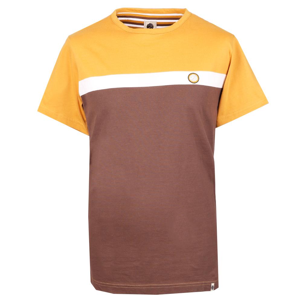 Front Colour Block T-Shirt (Brown, L, Stripe)
