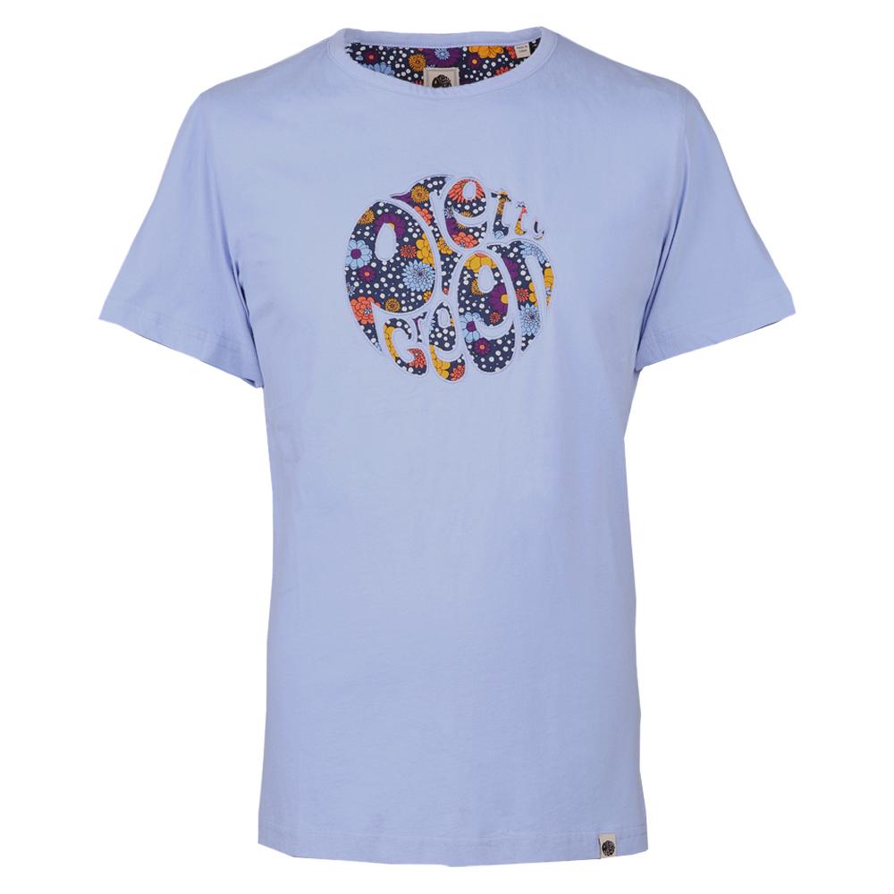 Floral Print Applique T-Shirt (LILAC, L, Embroided)