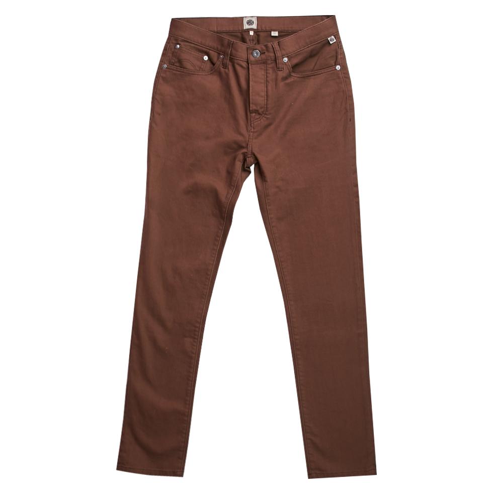5 Pocket Slim Fit Jeans (Brown, 28, Slim)